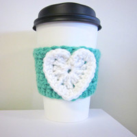 Crochet Cup Cozy The Valentines Heart Coffee Cup Sleeve in White and Tiffany