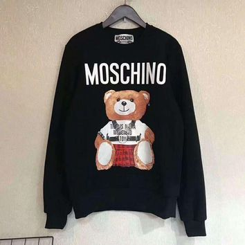 PEAPUF3 MOSCHINO Fashion Casual Long Sleeve Sweater Pullover Sweatshirt G-A-HRWM