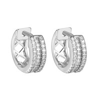 Silver Tone Iced Out Hoop Huggie Men Women Hip Hope Earrings Simulated Diamonds