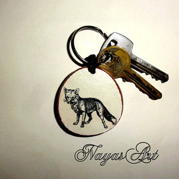Fox Keyring Keychain personalized. Accessories Fox keyring. White Wooden Handmade Keyring Keychain.Unique keychain Wooden natural slice gift