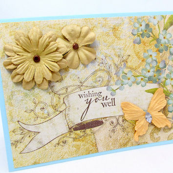 Wishing You Well - Pastel Floral Card - Flowers and Butterflies - Soft Yellow and Blue - Blank Card - Spring Theme - Hand Stamped