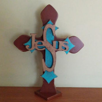 Layered/Stacked Jesus Free Standing Wood Cross - Handmade - Brown, Turquoise, Beige Distressed