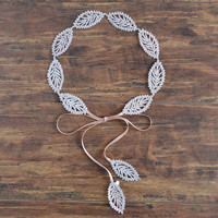 Goddess Leaf - bridal golden leaves crown, simple leaf wedding headpiece
