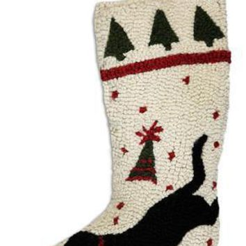 "9 x 20"" Christmas Stocking with Playful Black Lab"