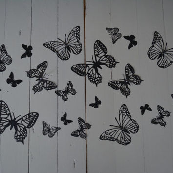 3D paper monarch butterflies of textured card stock wall art in metallic black --- As weddingdecor or special wedding decoration
