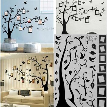 Large Family Tree and Birds Photo Frame Wall Stickers