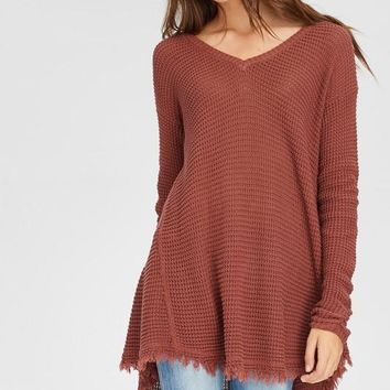 Frayed Waffle Knit Top (Multiple Colors Available)
