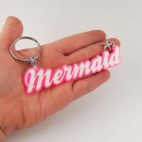 Mermaid keychain, mermaid nameplate keychain, lasercut, large mermaid keychains, pink and white glitter, mermaid party favors, starfish