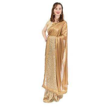 Royal Look Gold Pre-Pleated Ready-Made Sari