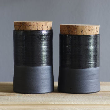 corked canister pair black stoneware with black glaze. modern kitchen pottery minimal ceramics