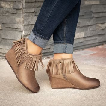 Fringe Taupe Wedges Booties