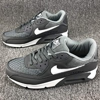 Nike AIR MAX 90 air cushion full leather casual shoes F-CSXY grey