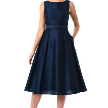 Dupioni belted fit-and-flare dress