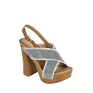 Jean with Gold Stud Blocked Heeled Platform Shoes
