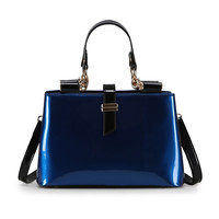Zipper & Hasp Leather Handbag