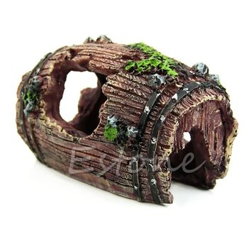 Artificial Barrel Resin Cave Fish Tank Ornament