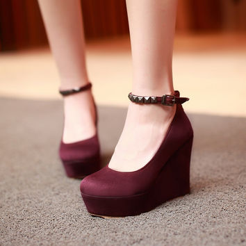 Women Wedges Studded Ankle Straps High Heels Pumps Platform Shoes 9736