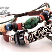 Turquoise bead leather handmade bracelet with antique silver tube from Urban Zen Jewelry Boutique