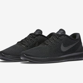 Women's Nike Free RN Shoes Black/Anthracite/White/Black