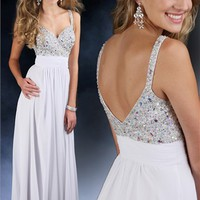 2012 White long Sparkle prom dress 71074