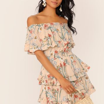 Ruffle Off Shoulder Layered Floral Mini Dress