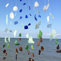 Custom made Genuine Texas Sea glass wind chime /mobile/wall hanging Gulf of mexico Beach Glass Windchime Texas Gulf Coast Beach Art Hanging
