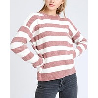 chenille stripe mauve white lightweight knit sweater