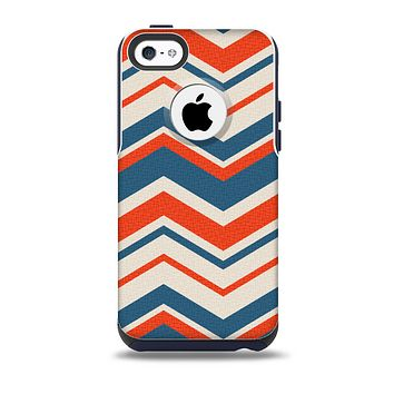Red, White and Blue Textile Chevron Pattern Skin for the iPhone 5c OtterBox Commuter Case