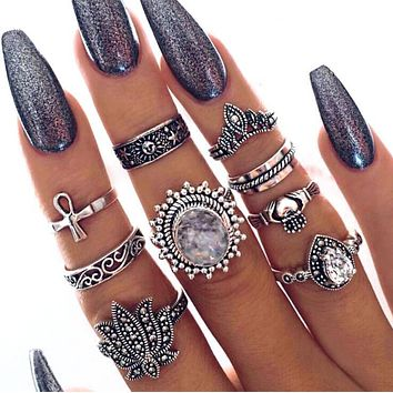 Hot Sale Popular Women Retro Exaggerated Gems Ring 9 Pieces Set Rings I12906-1