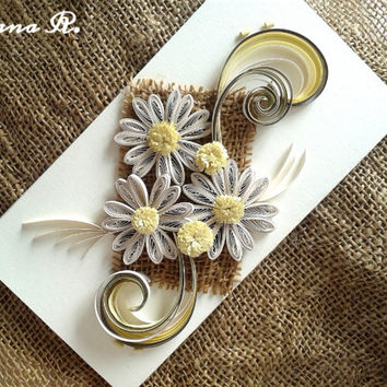 Unique 100% handmade greeting card, retro, quilling, birthday, wedding anniversary