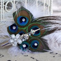 Handmade Bridal Peacock Feather Fascinator w Rhinestones 5 inches | peaceloveandallthingsjewelry - Wedding on ArtFire