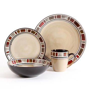 Gibson Elite Cimarron Red 16 Piece Dinnerwear Set, Cream