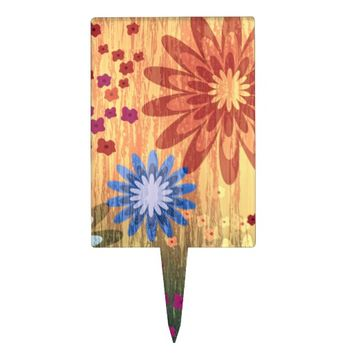 Grunge Pretty Daisies Rectangle Cakepick