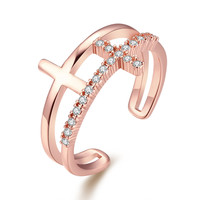 Pave Diamond Double Cross 18k Rose Gold Plated Ring