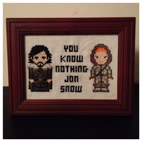 Game of Thrones Jon Snow Cross Stitch Picture Framed by K8BitHero