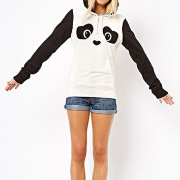 Panda Print Contrast Color Hooded Cute Sweatshirt