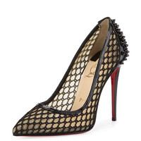 Christian Louboutin Guni Fishnet Red Sole 100mm Pump, Black