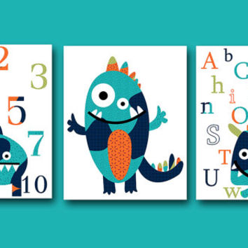 Canvas Monster Alphabet Numbers Nursery Art Print Baby Nursery Decor Baby Nursery Decor Kids Wall Art Kids Art Nursery Wall Art set of 3 /