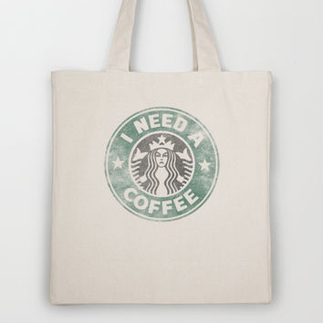 STARBUCKS - I need a coffee! (v2) Tote Bag by John Medbury (LAZY J Studios)