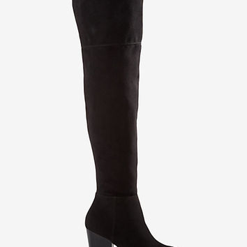 faux suede thigh high boot