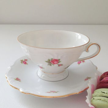 Vintage Bavaria Tea Cup and Saucer Cottage Style Tea Party Birthday, Thank You or Housewarming Gift Inspiration
