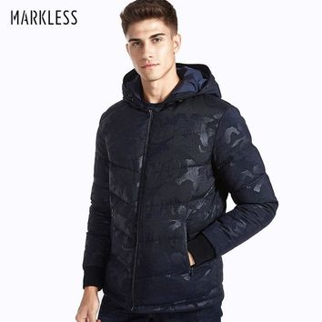 Markless Camouflage Men Winter Coats Brand Clothing Casual 90% White Duck Down Jackets Men Rib Sleeve Outwear