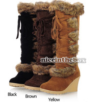 New Women Sexy Wedges Slim Winter Warm Pumps Knee High Winter Snow Boots N98B