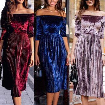 Women's Velvet Dresses Off-shoulder Casual Mid Sleeve Evening Party Long Dresses Women's designer clothes drop shipping good quality