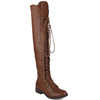FINAL SALE - Thigh High Lace Up Combat Boots - Brown