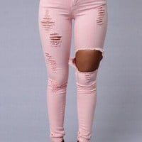 Mid-Waist Ripped Skinny Jeans