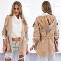 Day-First™ Women's Warm Coat Fashion Hooded Long Jacket Trench Windbreaker Parka Outwear