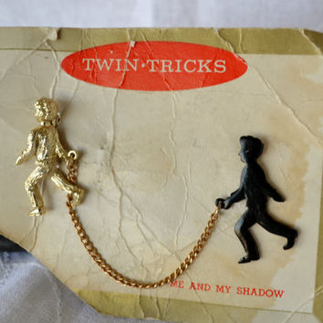 Vintage Me and My Shadow Brooch by Twin Tricks