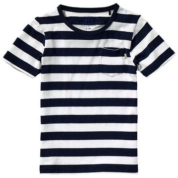 VONES0 Scotch & Soda Boys Striped Navy T-shirt