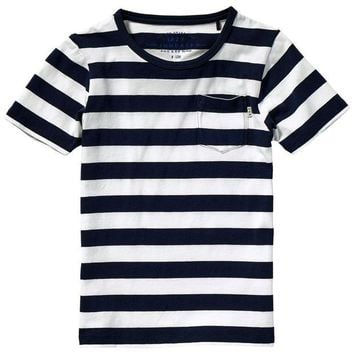 LMFMS9 Scotch & Soda Boys Striped Navy T-shirt